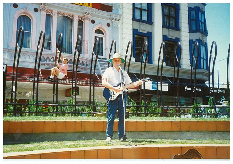 Mike Mckendry, performing for the Christchurch City Council, in Cashel Mall in 1990.
